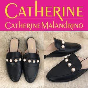 CATHERINE MALANDRINO BLACK LEATHER MULES SZ 8W
